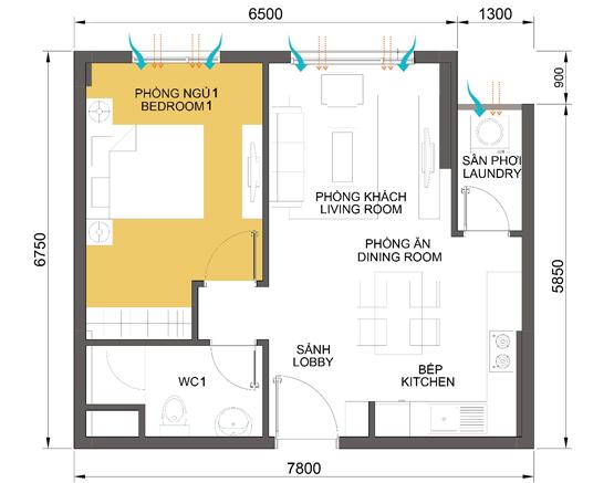 layout căn hộ T2 căn số 1 dự án chung cư Masteri Thảo Điền